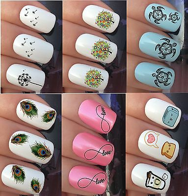 Nail Art Stickers Water Transfer Decals Wraps Peacock Feather Dandelion  Kawaii
