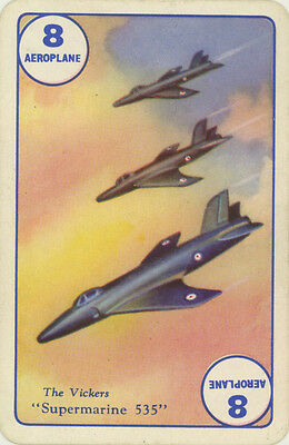 Vintage Single Swap Game Card: The Vickers Supermarine 535. Aeroplane.