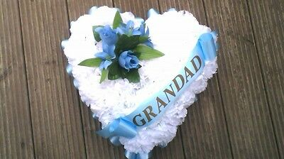"Artificial Silk Funeral Flower Heart Tribute 15""  Memorial Mum, Dad WHITE"