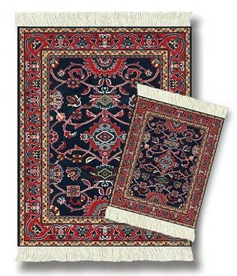 Mouserug Mouse Pad Coaster Rug Set Deep Blue Bergamo New Oriental Rugs Coasters