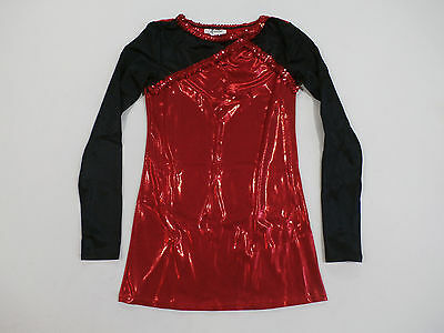 Alexandra Antares Long Sleeve Performance Dance Top Red/Black Size Medium New