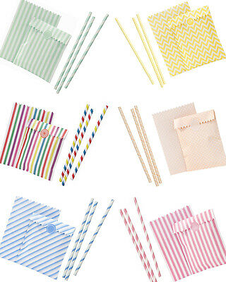 Retro Vintage Candy Stripe Craft Treat Bags and Straws Favour Bags Wedding Party