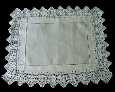 Antique Victorian Linen Hand Made Lace English Butler's Tray Cloth Tea Runner