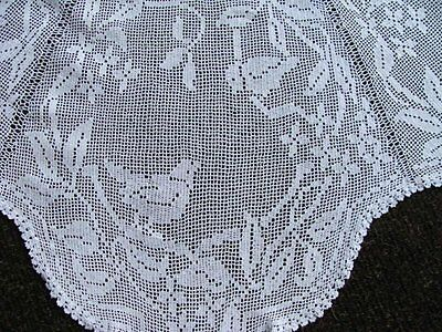 """WOW Antique MARY CARD Figural Lace Linen Tablecloth  58"""" Wild Clematis c1926"""