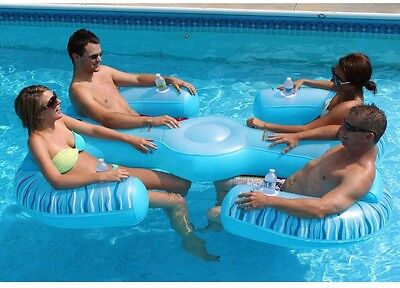 NEW 4-Person Inflatable Pool Lounger Float Water Raft Floating Party Cup Holder