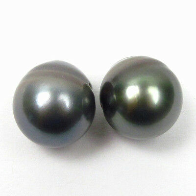 Matching Pair 14.7mm Undrilled Oval Loose Tahitian Black / Green Pearls