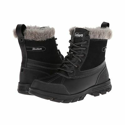 Skechers TRAIL MIX HEATS Womens Black Leather Water Resistant Winter Snow Boots
