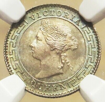 1900 Silver Ceylon 10 Cents Queen Victoria Ngc Mint State 65 Population: 2/0