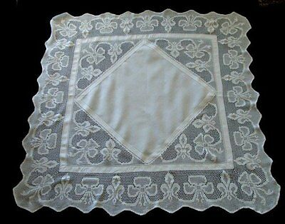 "AMAZING Antique Linen DEEP Lace Tablecloth 48""  English Tea Cloth Brides Bows"