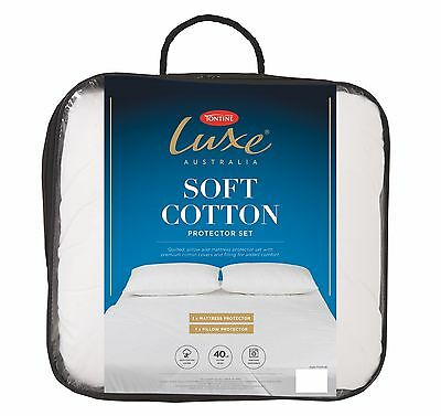 Tontine Luxe Soft Cotton Quilted Mattress & Pillow Protector Set-All Sizes