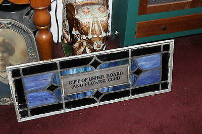 Antique Religious Church Stained Glass Window-Usher Board-Architectural Window