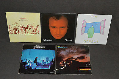 GENESIS 5 LP RECORD ALBUMS LOT COLLECTION Duke/Live/Trick of the Tail/Then Three