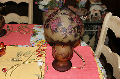 Stunning Galle Glass Table Lamp-Purple Flowers-Tip Galle-Art Glass Lamp-#1-LQQK