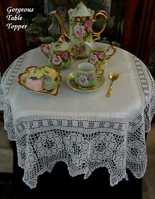 "FABULOUS Antique Linen Lace Tablecloth 35""  English Tea Cloth Topper PRISTINE"