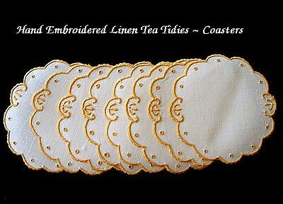 8 Vtg MADEIRA Linen TEA TIDIES Doilies Coasters Goblet Rounds Hand Embroidered