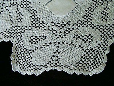 Antique Victorian Linen English Butlers Tray Cloth Tea Tablecloth Hand Made Lace