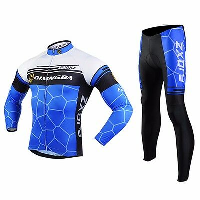 Road Bike Clothing Kit Men's Winter Cycling Long Sleeve Jerseys and Pants Set
