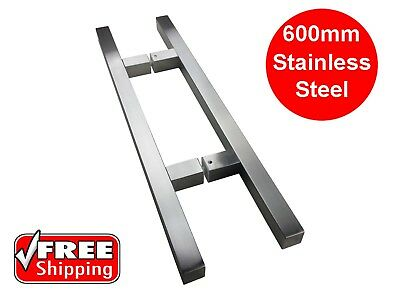 FRONT DOOR HANDLE PULL ENTRY SET STAINLESS STEEL 600mm LONG SQUARE ENTRANCE