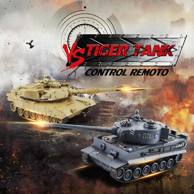 1/28 German Tiger & US M1A2 Battle Tanks Radio Sound Remote Control RTR Infrared