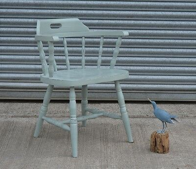 Shabby Chic Bow Captain Chair Annie Sloan Duck Egg Blue.