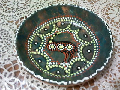 Authentic Aboriginal hand dot painted pottery dish