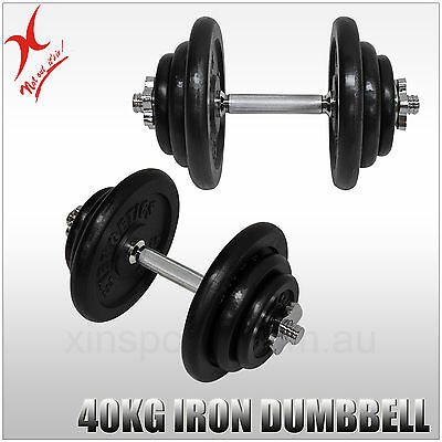 40Kg Dumbbell Weights Set - Iron Weight Plates + Stainless Bar