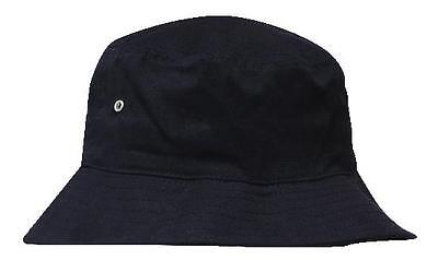 New Quality Plain BLACK Cotton Twill Beach BUCKET HAT Sports Sun Cover