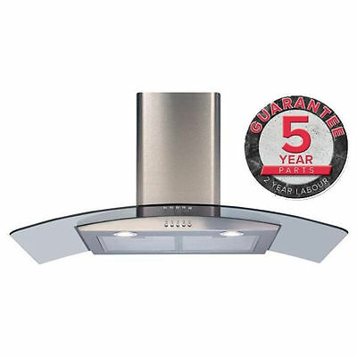 New CDA ECP92SS 90cm Curved Glass Cooker Extractor Hood Stainless Steel 500m3/Hr