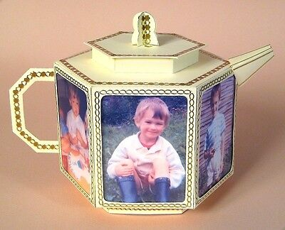 A4 Card Making Templates 3D Teapot with Photo Frames +Display Box -Card Carousel