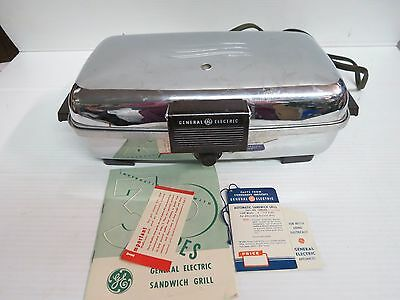 General Electric Waffle Iron 149G40 1950 Deco Chrome Aluminum Sandwich Grill t26