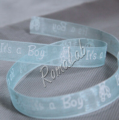 3 METRI NASTRO azzurro IN ORGANZA IT'S A BOY NASTRINI RIBBONS ALTO 12 MM