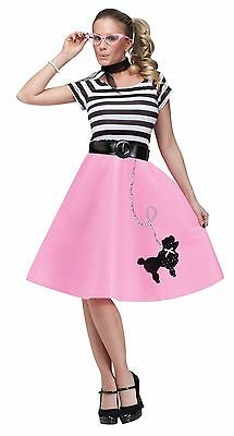 Womens Poodle Skirt 50s Halloween Costume Grease Greaser Adult Fancy Dress NEW