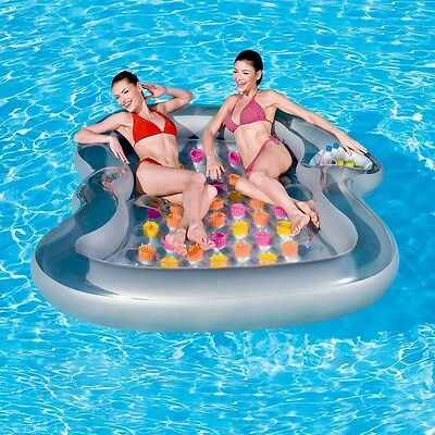 2-Person Inflatable Pool Lounger Float Water Lake Raft Floating with Cup Holder