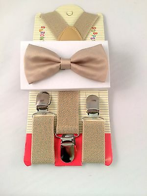 New Kids Suspenders Bow Tie Set Tuxedo Wedding Suit (Beige)