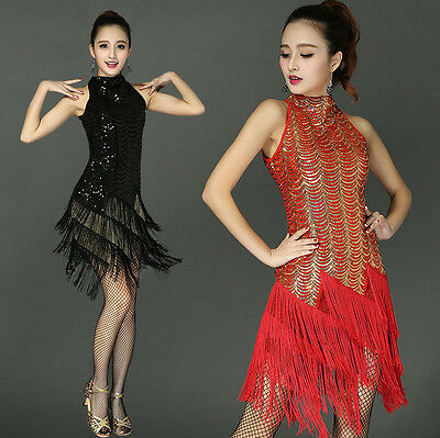 Womens Fringe Sequin Ballroom Latin Salsa Dance Dresses Costume Dancing Clothes