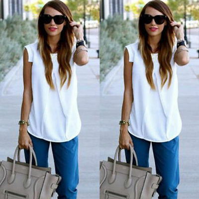 Women Vest Top Sleeveless Shirt Blouse Summer Casual Ladies Loose Tops White