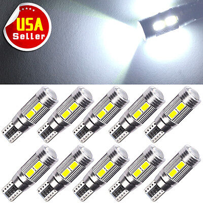 10x HID White Canbus T10 10-SMD LED Backup Reverse Light Bulbs W5W 192 921 2825
