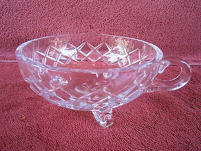 HEAVY  VINTAGE  CUT  GLASS  FOOTED  BOWL WITH  FINGER HANDLE  14cm.