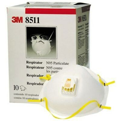 3M 8511 Particulate N95 Respirator MASK FILTER CARTON of 10 FREE SHIPPING