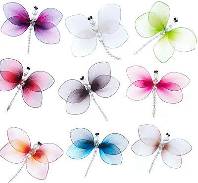 Clip on Dragonfly 12cm many colours Nylon Gossamer wings & bead body decoration
