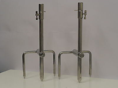 2 x Solid Stainless Steel Ext Bank Sticks 30-50 cm & 2 x Stainless Stabilisers