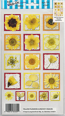 Flowers - Royal & Langnickel ' Yellow Flowers 2' Rub-On Transfers.