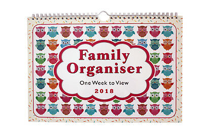 2018 Owls family organiser calendar - one week to view /home/office/- ST-9302