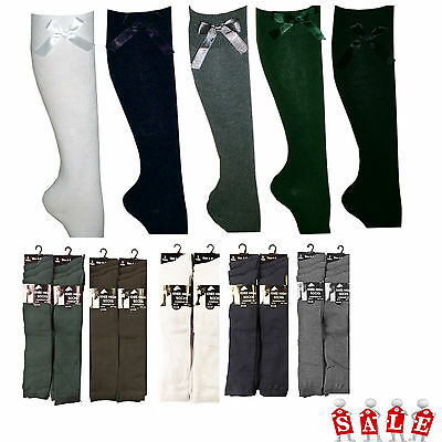 6 Pairs Girls Fashion Cotton Knee High Children Kids School Socks With Bow Size