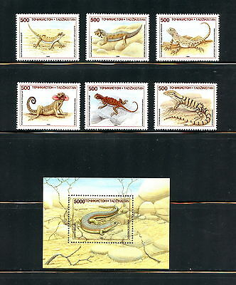 Tajikistan  1995 #69-75  fauna lizards  set & sheet  MNH  H562