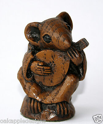 Church Mouse Playing Mandolin Reproduction Carving Musical Collectable Cute gift