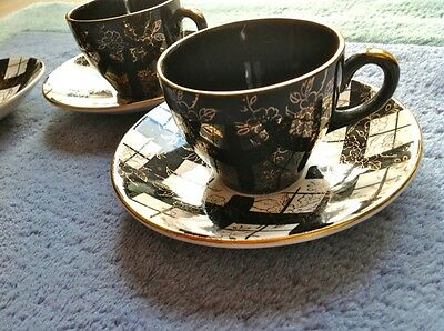 1940/50's Midwinter Brama Black & Gold Trio Of Small Coffee Cups
