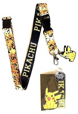 Pokemon Pikachu All Over Print Rubber Charm Lanyard Badge Id Holder Keychain Nwt