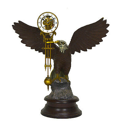 Large Brass American Eagle German Style Skeleton Swinger Movement Swinging Clock