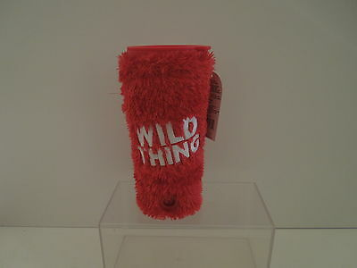 """NWOT Hallmark Musical """"Wild Thing"""" Travel Cup Embroidered Fuzzy Sleeve"""